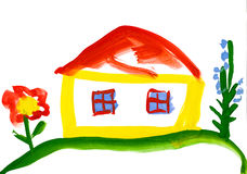 Child's drawing. house in the village. Child's drawing watercolor. house in the village stock illustration
