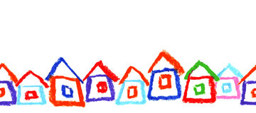 Child`s drawing of houses. Stock Photography