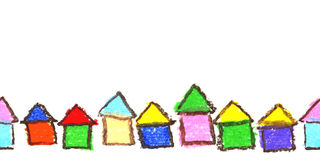 Child`s drawing of houses. Royalty Free Stock Photography