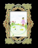Child's drawing illustrate tale. Child's drawing illustrate tale brothers Grimm, in an elegant frame royalty free illustration