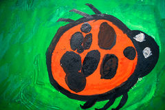 child`s drawing of the insect ladybug Royalty Free Stock Images