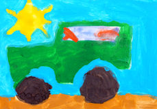 Child's drawing. Jeep drive off road Royalty Free Stock Photography