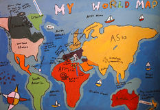 Child's drawing of map of the world. Image of hand drawn map Royalty Free Stock Photography