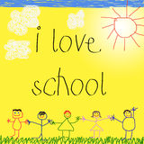Child's drawing with message Stock Images