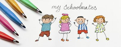 Child`s drawing, my school friends. Child`s drawing, my school friends royalty free stock photography