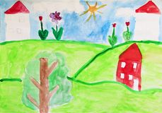 Free Child`s Drawing Of Houses And Flowers. Colored And Bright Child`s Drawing Stock Photography - 118826322