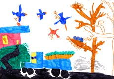 Child's drawing on paper Stock Image