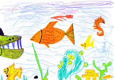 Child's drawing on paper Royalty Free Stock Images