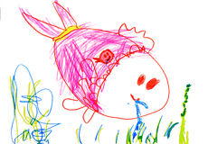 Child's drawing on paper Stock Images
