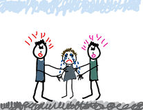 Child's drawing of parents fighting Royalty Free Stock Photos