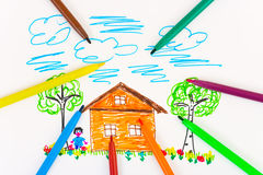Child's drawing and pens Stock Image