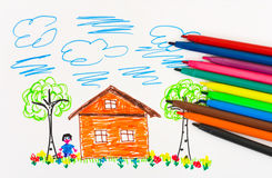 Child's drawing and pens Stock Photography