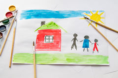 Child`s drawing. Photo of child watercolor drawing royalty free illustration