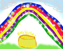 Child's Drawing of Pot Gold. Child's bright drawing of a sparkley rainbow over a leprechaun's pot of gold Royalty Free Stock Photos
