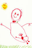 Child's drawing. Pregnant woman and sun. Child's drawing. Pregnant woman on outdoor stock illustration
