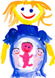 Child's drawing. pregnant woman Royalty Free Stock Image