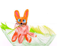 Child's drawing. Rabbit. Stock Photo