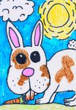 Child s drawing. Rabbit with a carrot.Bunny on the lawn on a Sunny day. Children`s drawing rabbit in the garden with a carrot drawn markers.Bunny on the lawn on vector illustration