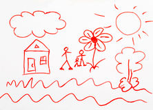 Child's drawing of a red marker Stock Image