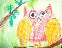 Child`s drawing red owl sitting on tree branch Stock Images