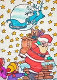 Child's drawing of Santa Claus holding gift bag Royalty Free Stock Photos