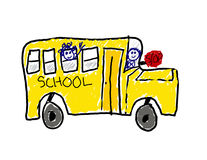 Child's drawing of school bus Stock Photos