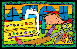 Child's Drawing- school supplies. Colorful  illustration of child's depiction of art class Royalty Free Stock Photos
