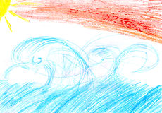 Child`s drawing of a sea sun clouds sunset sunrise Stock Images