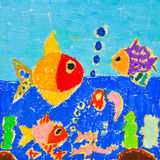 Child's Drawing of Sea World Royalty Free Stock Images