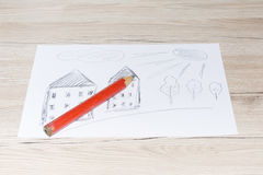 Child`s drawing with a simple pencil on a white sheet of paper. Child`s drawing with a simple pencil on a white sheet of paper Stock Photos