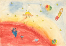 Child's drawing of space. Stock Photo