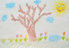 Child`s drawing, garden. Child`s drawing, summer garden. illustration stock photography