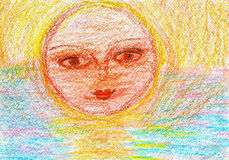 Child's drawing of the sun on the sunset. Child's drawing of a smiling sun on the sunset Royalty Free Stock Photography