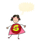 Child's drawing of a superhero Stock Photos