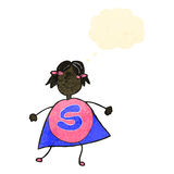 Child's drawing of a superhero girl Stock Images