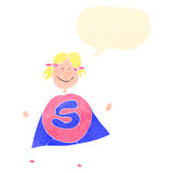 Child's drawing of a superhero woman Royalty Free Stock Image