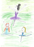 A child's drawing three balerinas  happy dancing girl Royalty Free Stock Image