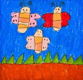 Child's Drawing of Three Happy Butterfly Royalty Free Stock Photo