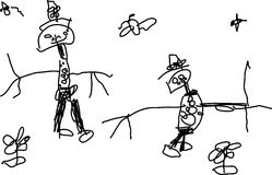 Child's drawing of two funny people. Child's drawing of a two funny people on white Royalty Free Stock Photo