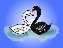 Child's drawing - two swans 0 Royalty Free Stock Photos
