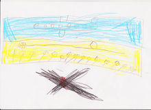 Child's drawing of Ukraine Stock Photos