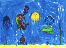 Child`s drawing of underwater`s life. Stock Images