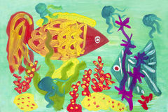 Child's drawing of the underwater world. Royalty Free Stock Photo