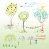 A child's drawing in vector. Summer garden with a hammock, a ben Stock Photography