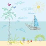 A child's drawing in vector. Sun, sea, beach, sailing away, vaca Royalty Free Stock Images