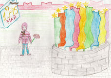 Child's drawing of victory day Stock Photo
