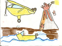 Child's Drawing of a Volcano with plane, boat and car Stock Images