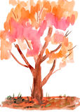 Child's drawing watercolor. Autumn tree. Child's drawing watercolor. Isolated autumn tree Royalty Free Stock Photos