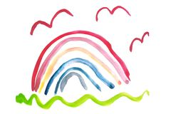 Child`s drawing by watercolor. A rainbow. royalty free illustration