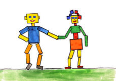 Child's drawing watercolor. the robots Royalty Free Stock Images